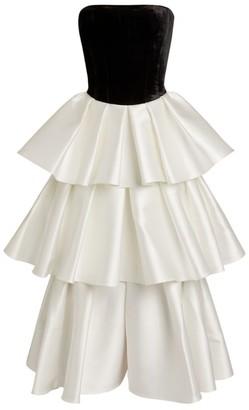 Rasario Contrast Ruffle Midi Dress