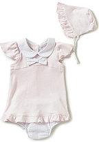 Edgehill Collection Baby Girls Newborn-6 Months Lucinda Ruffle Dress & Bonnet Set