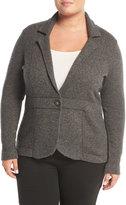 Neiman Marcus Cashmere One-Button Blazer Jacket, Plus Size