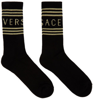 Versace Black and Gold Logo Socks