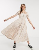 Free People she's a dream floral maxi dress with corset top