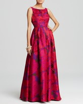 Adrianna Papell Petites Floral-Print Gown