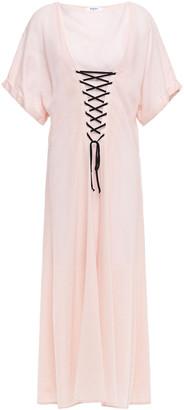 Marysia Swim Lace-up Gingham Tencel And Cotton-blend Midi Dress