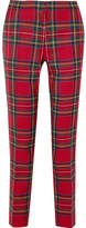 Burberry Tartan Wool Straight-leg Pants - Red