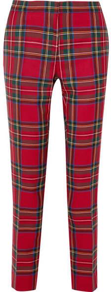 Burberry Tartan Wool Straight-leg Pants - Red
