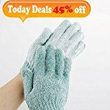 Exfoliating Bath Gloves,4 Pair Double Side Durable Face and Body Scrubber Nylon Shower Gloves for Men and Women