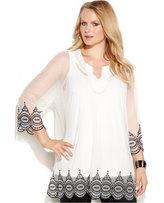Alfani Plus Size Embroidered Three-Quarter-Sleeve Blouse