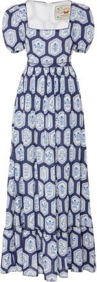 Agua Bendita Pomelo Floral-Printed Linen Maxi Dress