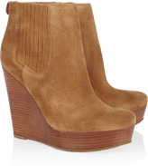 MICHAEL Michael Kors Emory suede and wooden wedge ankle boots