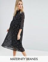 Mama Licious Mama.licious Mamalicious Spotty Woven Dress With 3/4 Sleeve