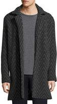 Etro Long Chevron Wool Cardigan Coat, Gray