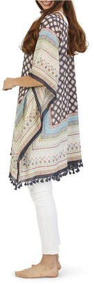 Twos Company Two Company Roberta Moorish Pattern Poncho with Hand Stitched Embroidery and Tassels