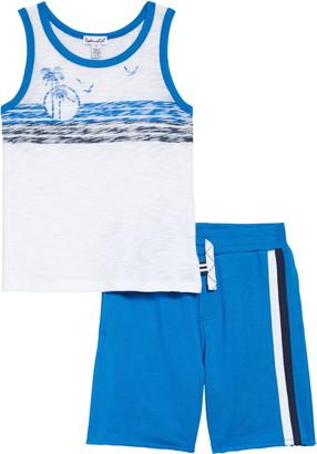 Splendid Palm Print Slub Tank & Drawstring Shorts Set