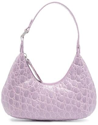 BY FAR mini Amber crocodile-embossed shoulder bag