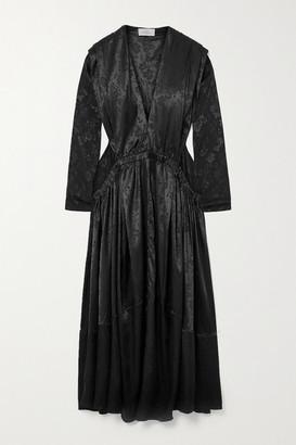 Preen by Thornton Bregazzi Clario Gathered Floral-jacquard Maxi Dress - Black