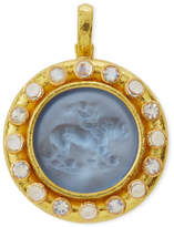 Elizabeth Locke Cupid Riding Lion Venetian Glass Intaglio Pendant, Cerulean