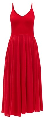 Roche Ryan V-neck Cashmere Midi Dress - Womens - Red