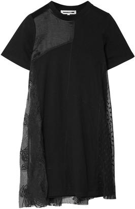 McQ Layered Patchwork Satin, Stretch-jersey And Lace Mini Dress