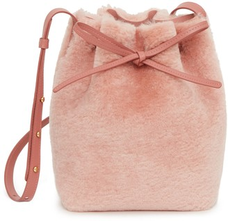 Mansur Gavriel Shearling Mini Bucket Bag - Blush