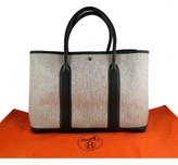 Hermes excellent (EX Toile & Black Leather Garden Party Tote Medium MM Size Bag