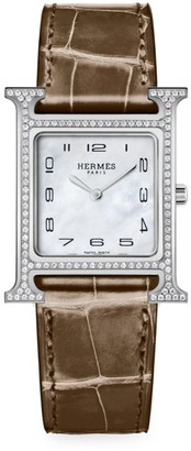 Hermes Heure H 26MM Diamond, Stainless Steel & Alligator Strap Watch
