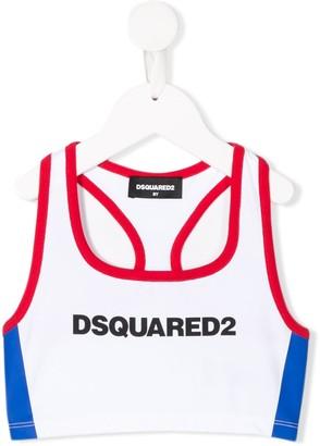 DSQUARED2 Logo Print Sports Crop Top