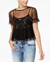 American Rag Juniors' Sheer Embroidered Top, Created for Macy's