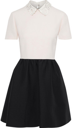 Valentino Convertible Two-tone Wool And Silk-blend Crepe Mini Dress