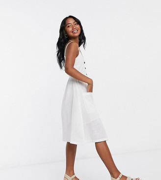 Brave Soul Petite leah button through midi dress in cream