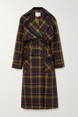 RALPH & RUSSO Belted Double-breasted Leather-trimmed Checked Wool Coat - Dark green