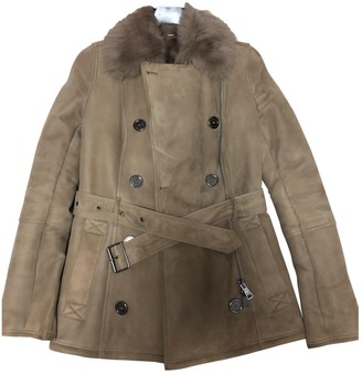 Burberry Camel Shearling Jacket for Women
