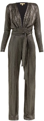 Melissa Odabash Look 4 Metallic-stripe Belted Jumpsuit - Womens - Black