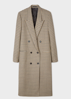 Women's Camel Houndstooth Wool Double-Breasted Coat