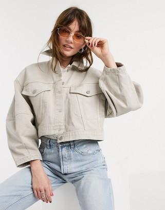 ASOS DESIGN denim oversized sleeve crop jacket in stone