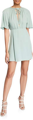 Valentino Flutter-Sleeve Astro Crepe Dress