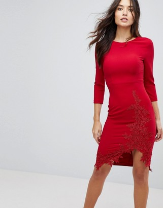 Little Mistress Long Sleeve Pencil Dress With Side Split And Applique Detail-Red
