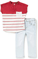 7 For All Mankind Baby Girls 12-24 Months Color Block/Striped Short-Sleeve Tee & Skinny Jeans