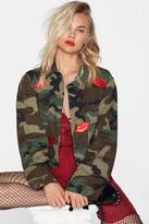 Nasty Gal After Party Vintage Loose Lips Camo Jacket