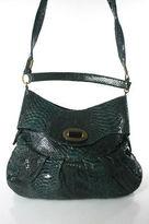 R & Y Augousti R&Y Augousti Emerald Green Black Python Skin Gold Tone Tote Shoulder Handbag