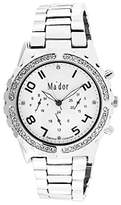 Ma'dor Mador -MAW1221 - Women Watch - White Dial - Silver Metal Bracelet with Diamonds
