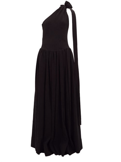 STAUD One-shoulder Ribbed-jersey Maxi Dress - Black