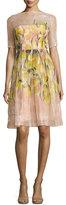 Lela Rose Floral Glossed Organza A-Line Dress