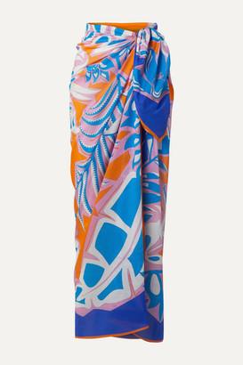 Emilio Pucci Samoa Printed Cotton-voile Pareo - Azure