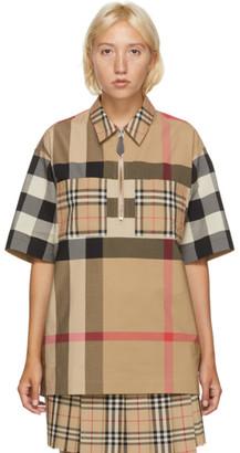 Burberry Beige Check Durham Zip Short Sleeve Shirt