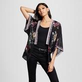 Xhilaration Women's Border Print Kimono Juniors') - Black