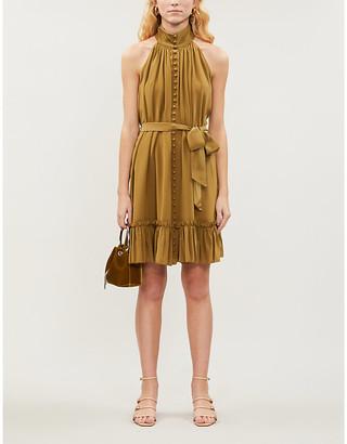Zimmermann Super Eight leopard-print sleeveless silk-crepe mini dress