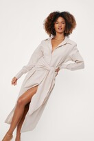 Thumbnail for your product : Nasty Gal Womens Linen Look Tie Front Midi Shirt Dress - Beige - 4