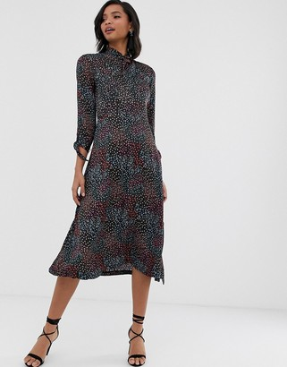 Closet London Closet tie neck a line dress-Black