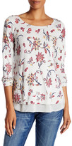 Lucky Brand Woven Mix Floral Sweater