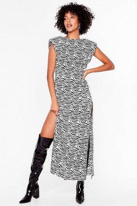 Nasty Gal Womens Get Wild Shoulder Pad Midi Dress - Black - 4